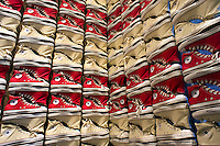 A display of sneakers in the Converse store in Soho in New York is seen on Saturday, February 25, 2012. (© Richard B. Levine)
