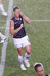 27 April 2008: Christie Rampone (USA) gets an eyeful of water in a pregame downpour. The United States Women's National Team defeated the Australia Women's National Team 3-2 at WakeMed Stadium in Cary, NC in a women's international friendly soccer match following a brief delay for lightning.