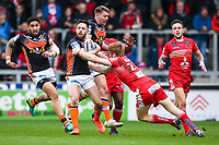 Picture by Alex Whitehead/SWpix.com - 19/03/2017 - Rugby League - Betfred Super League - Salford Red Devils v Castleford Tigers - AJ Bell Stadium, Salford, England - Castleford's Luke Gale is tackled by Salford's Kris Welham.