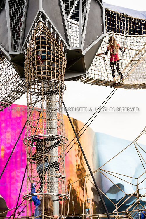 5/22/2015&mdash;Seattle, WA<br /> <br /> Artists at Play - Seattle Center - an imaginative, artists-created outdoor playground.<br /> <br /> A 35-foot Climbing Tower, colorful Labyrinth, ADA-accessible Carousel, child-inspired musical instruments, listening stations, sound swings, play mounds, and &quot;story lines&quot; offer child-friendly amusement in keeping with the mission and purpose of Seattle Center.&nbsp;<br /> <br /> Photograph by Stuart Isett<br /> &copy;2014 Stuart Isett. All rights reserved.