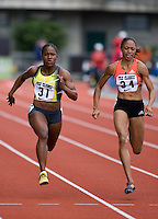 EUGENE, OR--Torri Edwards, left, and Allyson Felix race in the women's 100m at the Steve Prefontaine Classic, Hayward Field, Eugene, OR. SUNDAY, JUNE 10, 2007. PHOTO © 2007 DON FERIA