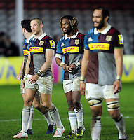 Marland Yarde of Harlequins is all smiles after the match. Aviva Premiership match, between Harlequins and Sale Sharks on January 7, 2017 at the Twickenham Stoop in London, England. Photo by: Patrick Khachfe / JMP