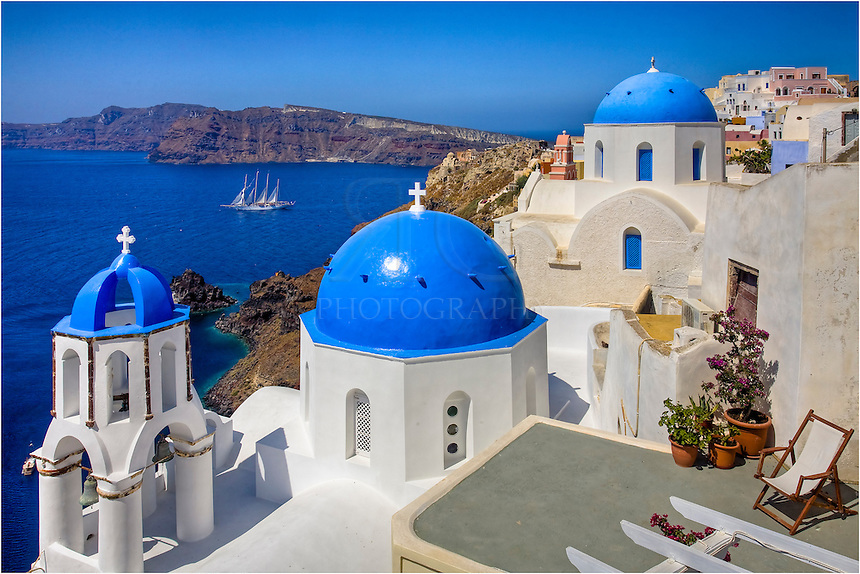 The blue domes and white buildings are iconic on the island of Santorini - especially in most images of Oia, Santorini, that you see.