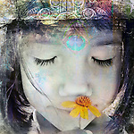 Child with crown smelling yellow wildflower. Photo based illustration.