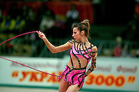 """Almudena Cid of Spain expresses with rope at 2008 World Cup Kiev, """"Deriugina Cup"""" in Kiev, Ukraine on March 22, 2008."""