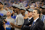 02 APR 2012:  Head coach John Calipari of the University of Kentucky during the 2012 NCAA Men's Division I Basketball Championship Final Four held at the Mercedes-Benz Superdome hosted by Tulane University in New Orleans, LA.  The University of Kentucky beat the University of Kansas 67-59. Joshua Duplechian/ NCAA Photos