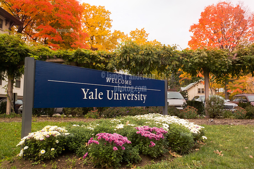 Yale University Welcome Sign on Trumbull Street in New Haven Connecticut with Vivid Autumn Colors around. October 29, 2004.