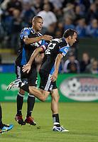 Jason Hernandez (center) congratules Ramiro Corrales (right) on his goal. Toronto FC defeated the San Jose Earthquakes 3-1 at Buck Shaw Stadium in Santa Clara, California on May 29th, 2010.