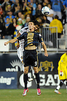 Sebastien Le Toux (9) of the Philadelphia Union heads the ball. The Los Angeles Galaxy defeated the Philadelphia Union  1-0 during a Major League Soccer (MLS) match at PPL Park in Chester, PA, on October 07, 2010.