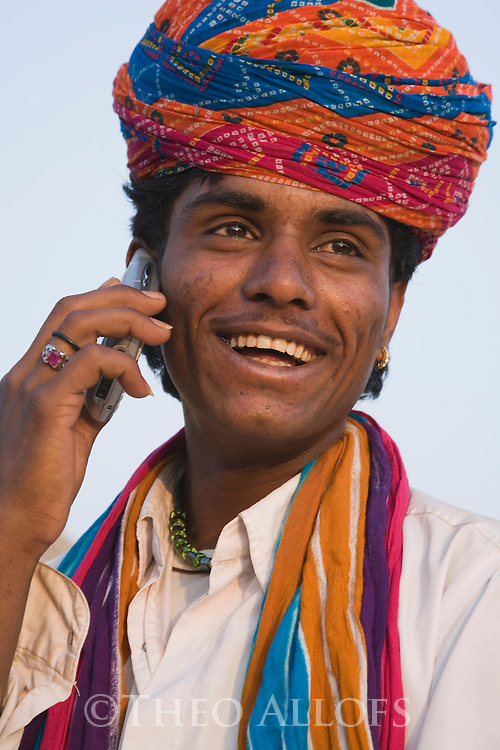 Rajasthani Man Wearing Colorful Turban Cell Phone Rajasthan India