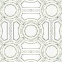 Augustus, a waterjet stone and glass mosaic, shown in Thassos honed, Thassos polished, and Tropical White glass, is part of the Parterre Collection by Sara Baldwin for New Ravenna.