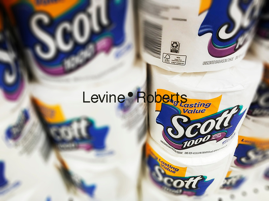 Rolls of Scott toilet paper manufactured by Kimberly-Clark are seen on a supermarket shelf on Thursday, March 17, 2016. Photo illustration. (© Richard B Levine)