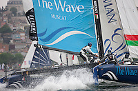 Extreme Sailing Series 2011. Act 3.Turkey . Istanbul.The Wave Muscat skippered by Torvar Mirsky with team mates Kyle Langford, Nick Hutton and Khamis Al Anbouri .Credit Lloyd Images