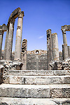 Named as a UNESCO World Heritage Site in 1997 and located southeast of Tunis, the Roman ruins of Dougga are renowned as the largest and most beautiful Roman site in all of Tunisia.  This photo is of the THEATRE, originally built in 168 AD, and still used in the summer for performances.