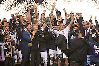 CARSON, CA - November 20, 2011: The LA Galaxy team celebrates their championship after the MLS Cup match between LA Galaxy and Houston Dynamo at the Home Depot Center in Carson, California. Final score LA Galaxy 1, Houston Dynamo 0.