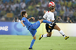 21 August 2008: Yukari Kinga (JPN) (2) prepares to kick a ball, but Sandra Smisek (GER) (8) heads the ball first. Germany's Women's National Team defeated Japan's Women's National Team 2-0 at the Worker's Stadium in Beijing, China in the Bronze Medal match in the Women's Olympic Football tournament.
