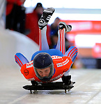 14 December 2007: Sergei Chudinov, racing for Russia, starts his first run at the FIBT World Cup Skeleton Competition at the Olympic Sports Complex on Mount Van Hovenberg, at Lake Placid, New York, USA. ..Mandatory Photo Credit: Ed Wolfstein Photo