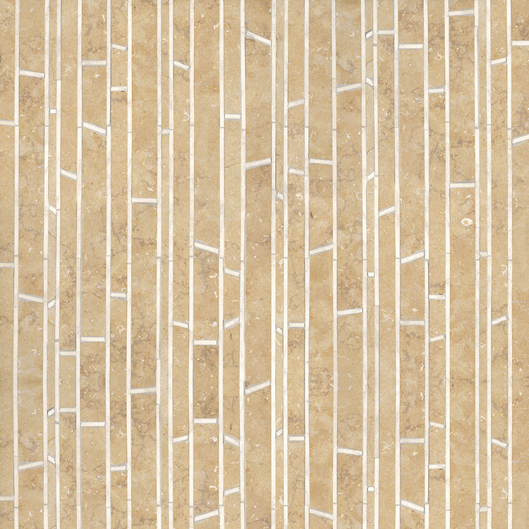 Bamboo, a natural stone mosaic shown in Ivory Cream and Jerusalem Gold (honed), is part of the Metamorphosis Collection by Sara Baldwin for New Ravenna Mosaics.