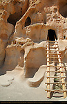 Talus Houses, Cavate Alcove and Ladder, Anasazi Ancestral Puebloan Cliff Dwelling, Bandelier National Monument, Frijoles Canyon, Pajarito Plateau, Los Alamos, New Mexico