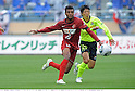 Carlao (Antlers), Yasuhiro Hato (Marinos), APRIL 25th, 2011 - Football : 2011 J.League Division 1 match between Kashima Antlers 0-3 Yokohama Marinos at National Stadium in Tokyo, Japan. The J.League resumed on Saturday 23rd April after a six week enforced break following the March 11th Tohoku Earthquake and Tsunami. All games kicked off in the daytime in order to save electricity and title favourites Kashima Antlers are still unable to use their home stadium which was damaged by the quake. Velgata Sendai, from Miyagi, which was hard hit by the tsunami came from behind for an emotional 2-1 victory away to Kawasaki..(Photo by Takamoto Tokuhara/AFLO)