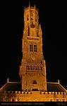 Belfort Bell Tower 1240, North Side at Night, Market Square, Bruges, Brugge, Belgium