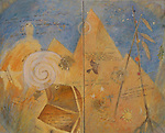 "Oil painting and poem on canvas with gold leaf.  The Dream is Now by Jude Balthis. Diptych. 48"" x 60"""
