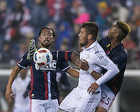 Foxborough, Massachusetts - October 1, 2016: In a Major League Soccer (MLS) match, New England Revolution (blue/white) defeated Sporting Kansas City (white), 3-1, at Gillette Stadium.