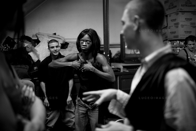 In the homeless shelter, Lady K commands attention.  He is the most convincing woman of the bunch.  The rest of the transgender men follow him down dark paths.