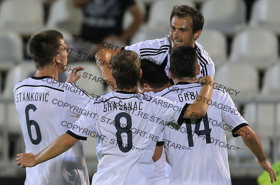 Fudbal Football Soccer<br /> UEFA Champions league-2nd qualifying round<br /> Partizan v HB Torshavn (Faroe Islands)<br /> Danko Lazovic (TOP) celebrate the goal with the team mates<br /> Beograd, 07.15.2014.<br /> foto: Srdjan Stevanovic/Starsportphoto &copy;