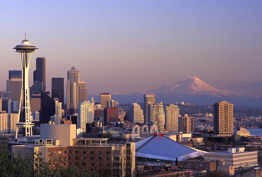 Seattle skyline and Mount Rainier at dusk, Seattle, Washington
