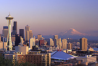 Seattle skyline and Mount Rainier at dusk, Seattle, Washington