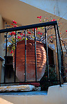 Europe, Mediterranean, Aegean, Greece, Greek Islands, Santorini, A potted bouganvillia adds color to a Santorini balcony.