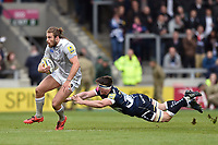 Max Clark of Bath Rugby gets past Tom Curry of Sale Sharks. Aviva Premiership match, between Sale Sharks and Bath Rugby on May 6, 2017 at the AJ Bell Stadium in Manchester, England. Photo by: Patrick Khachfe / Onside Images