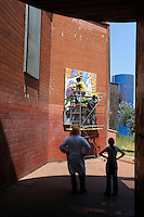 """Il Mosaico """"Transizione"""",presso la stazione Santa Maria del Soccorso della Metro B , è realizzato su lavori delle alunne del Corso di Decorazione Pittorica della Casa Circondariale Femminile Rebibbia...."""
