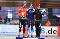SCHAATSEN: ERFURT: Gunda Niemann Stirnemann Eishalle, 22-03-2015, ISU World Cup Final 2014/2015, Podium Mass Start Men, Jorrit Bergsma (NED), Bart Swings (BEL), Sverre Lunde Pedersen (NOR), ©foto Martin de Jong