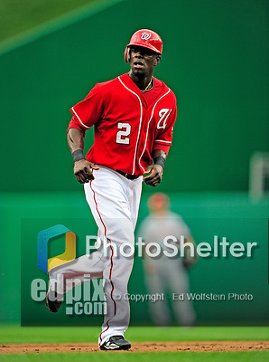 6 June 2010: Washington Nationals' outfielder Roger Bernadina in action against the Cincinnati Reds at Nationals Park in Washington, DC. The Reds edged out the Nationals 5-4 in a ten inning game. Mandatory Credit: Ed Wolfstein Photo