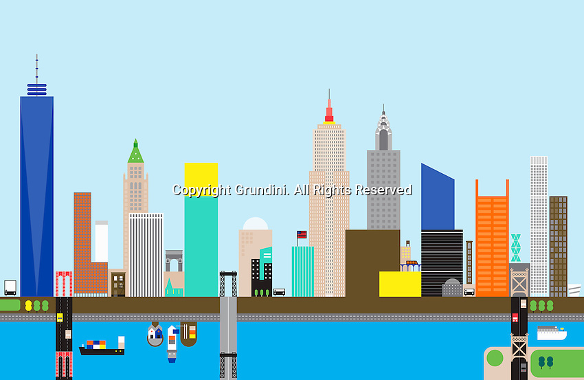 Abstract skyline of New York City  ExclusiveImage ExclusiveArtist