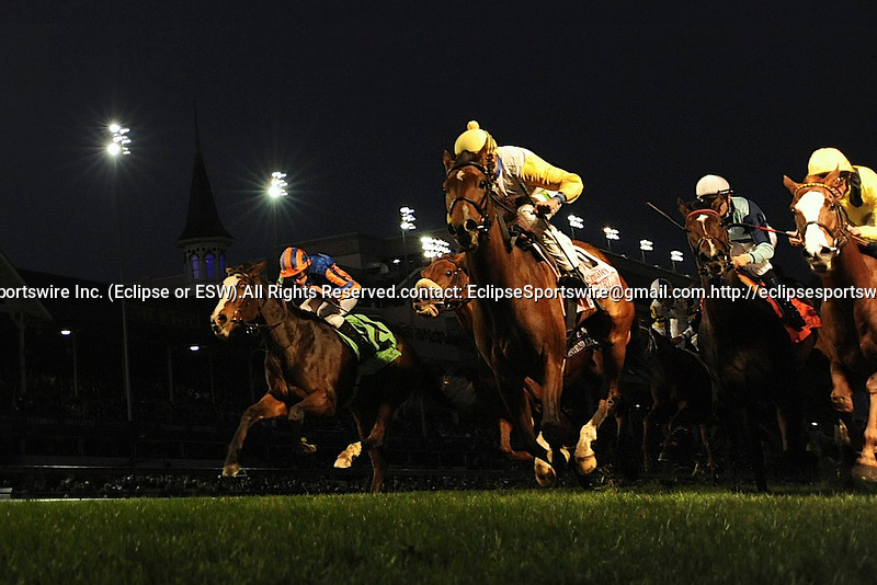 Perfect Shirl (no. 8), ridden by John Velazquez and trained by Roger Attfield, wins the grade 1 Breeders' Cup Filly & Mare Turf Stakes for fillies and mares, three years old and upward on November 04, 2011 at Churchill Downs in Louisville, Kentucky.  (Eclipse Sportswire)