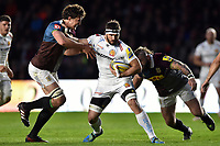 Don Armand of Exeter Chiefs looks to fend Charlie Matthews of Harlequins. Aviva Premiership match, between Harlequins and Exeter Chiefs on April 14, 2017 at the Twickenham Stoop in London, England. Photo by: Patrick Khachfe / JMP