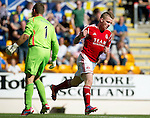 St Johnstone v Aberdeen....18.08.12   SPL.Johnny Hayes celebrates his goal.Picture by Graeme Hart..Copyright Perthshire Picture Agency.Tel: 01738 623350  Mobile: 07990 594431