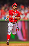 27 July 2013: Washington Nationals outfielder Bryce Harper rounds the bases after hitting a 2-run homer in the 3rd inning against the New York Mets at Nationals Park in Washington, DC. The Nationals defeated the Mets 4-1. Mandatory Credit: Ed Wolfstein Photo *** RAW (NEF) Image File Available ***
