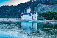 Kaub Castle ,  Rhine River, Germany , Rhineland Region. 13th Century Castle Upper Middle Rhine Valley UNESCO World Heritage Site