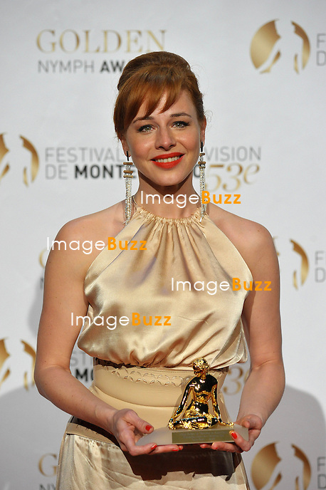 CPE/June 13, 2013-Eszter Onodi receives the Special Prize during the closing ceremony of the 2013 Monte Carlo Television Festival. Golden Nymph Awards Photocall.