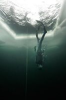 Freediving competition Oslo Ice Challenge at freshwater lake Lutvann outside the Norwegian capital Oslo.