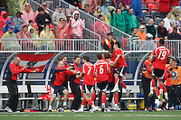 Austria players celebrate forward (9) Erwin Hoffer scoring the game winning goal. Austria (AUT) defeated the United States (USA) 2-1 in overtime of a FIFA U-20 World Cup quarter-final match at the National Soccer Stadium at Exhibition Place, Toronto, Ontario, Canada, on July 14, 2007.