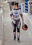 8 January 2016: Sophia Griebel, competing for Germany, walks off the track after completing her second run of the BMW IBSF World Cup Skeleton race with a combined 2-run time of 1:52.66, earning a 15th place finish for the day at the Olympic Sports Track in Lake Placid, New York, USA. Mandatory Credit: Ed Wolfstein Photo *** RAW (NEF) Image File Available ***