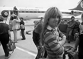 IRON MAIDEN - Bruce Dickinson - arrival at Okecie Airport at the start of the World Slavery Tour in Warsaw Poland - August 1984.  Photo credit: George Bodnar Archive/IconicPix