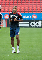 August 21 2010 New York Red Bulls forward Thierry Henry #14 warms up during a game between the New York Red Bulls and Toronto FC at BMO Field in Toronto..The New York Red Bulls won 4-1.