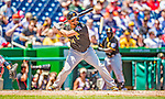 25 July 2013: Pittsburgh Pirates infielder Gaby Sanchez in action against the Washington Nationals at Nationals Park in Washington, DC. The Nationals salvaged the last game of their series, winning 9-7 ending their 6-game losing streak. Mandatory Credit: Ed Wolfstein Photo *** RAW (NEF) Image File Available ***