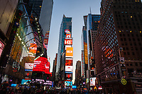 US, New York City. Lights and advertising boards on Times Square.